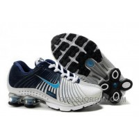 Kid's Nike Shox R4 Shoes White/Midnight Navy/Light Blue Online