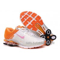 Kid's Nike Shox R4 Shoes White/Orange Top Deals