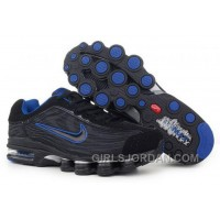 Men's Nike Air Max Shox R4 Shoes Black/Blue Authentic