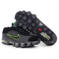 Men's Nike Air Max Shox R4 Shoes Black/Dark Grey/Green For Sale