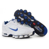 Men's Nike Air Max Shox R4 Shoes White/Blue Cheap To Buy