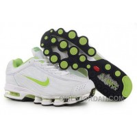 Men's Nike Air Max Shox R4 Shoes White/Light Green Lastest