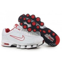Men's Nike Air Max Shox R4 Shoes White/Red Free Shipping