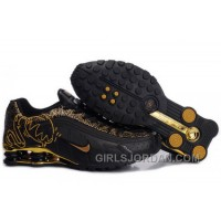 Men's Nike Shox R4 Cartoon Shoes Black/Gold Online