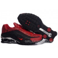 Men's Nike Shox R4 Cartoon Shoes Black/Gym Red/Silver Online
