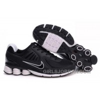Men's Nike Shox R6 Shoes Black/White Discount