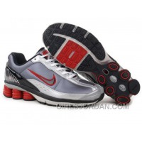 Men's Nike Shox R6 Shoes Grey/White/Black/Red Discount