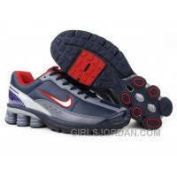 Men's Nike Shox R6 Shoes Navy/Grey/White/Red Free Shipping