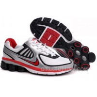 Men's Nike Shox R6 Shoes Silver/White/Black/Red Free Shipping