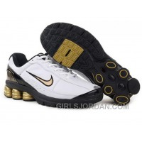 Men's Nike Shox R6 Shoes White/Black/Golden For Sale