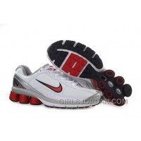 Men's Nike Shox R6 Shoes White/Grey/Silver/Red For Sale