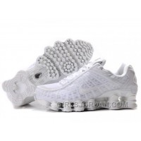 Men's Nike Shox TL Shoes All White Free Shipping
