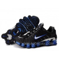 Men's Nike Shox TL Shoes Black/Blue/Silver Super Deals