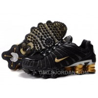 Men's Nike Shox TL Shoes Black/Gold/Silver Lastest