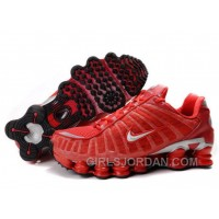 Men's Nike Shox TL Shoes Gym Red/Silver For Sale
