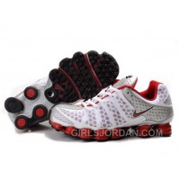 Men's Nike Shox TL Shoes White/Red/Silver Cheap To Buy