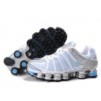Women's Nike Shox TL Shoes White/Light Blue/Silver Super Deals