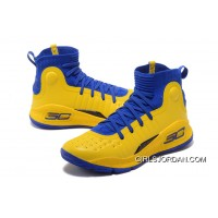 Under Armour Curry 4 Basketball Shoes Yellow Blue For Sale