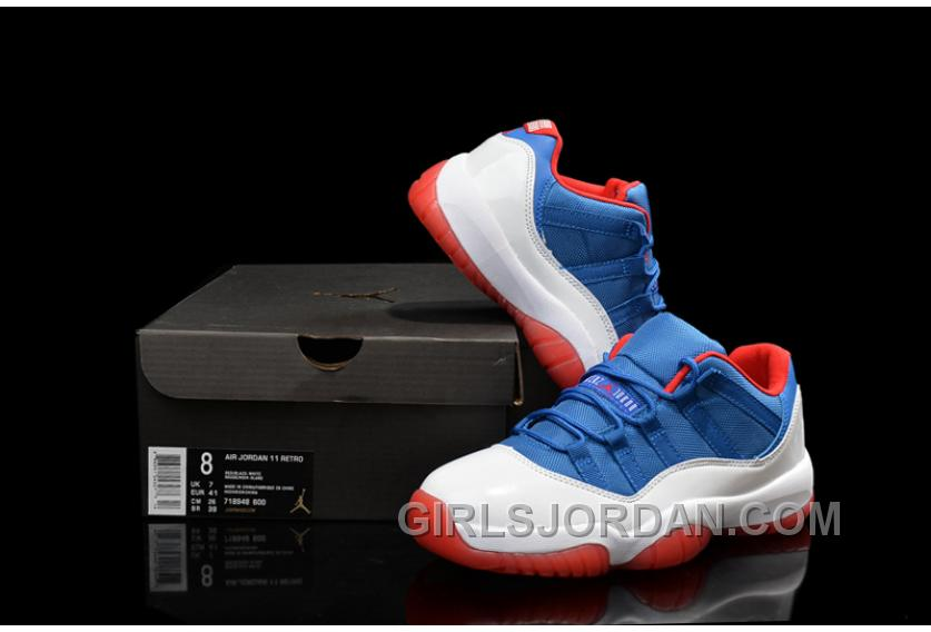 "Mens Air Jordan 11 Low ""Knicks"" White Blue Red For Sale Cheap To Buy"