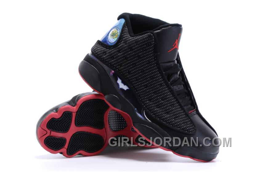 2017 Mens Air Jordan 13 Custom Batman Superman Dawn Of Justice Black Red For Sale Authentic