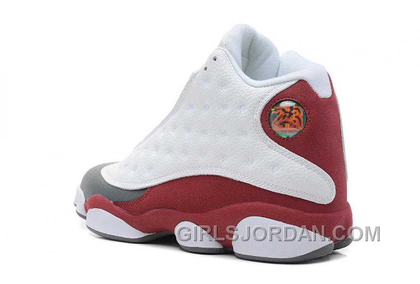 Online Mens Air Jordan 13 Retro White/Team Red-Flint Grey For Sale