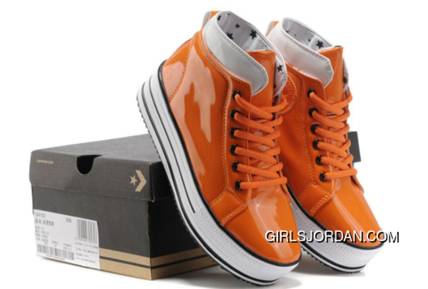 Orange All Star Platform CONVERSE Shiny Leather Shoes Best