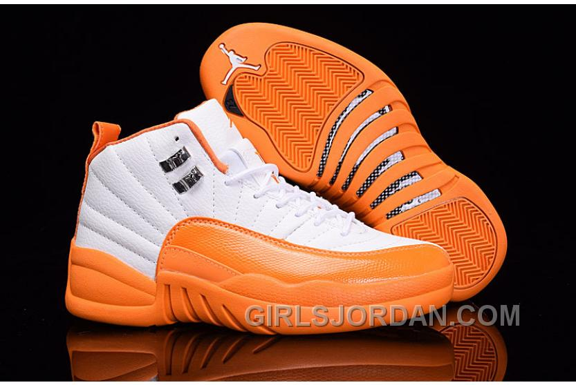 "Top Deals 2017 Girls Air Jordan 12 ""The Glove"" White Orange For Sale"