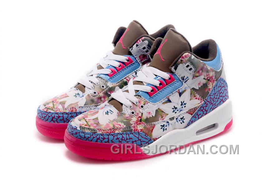 2017 Girls Air Jordan 3 School Season Brown Blue Pink Shoes For Sale Discount