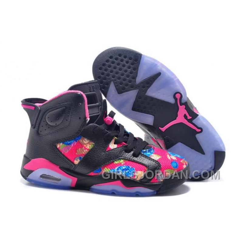 92bf872a7f0 2017 Girls Air Jordan 6 Black Pink Floral Print Shoes For Sale Free ...