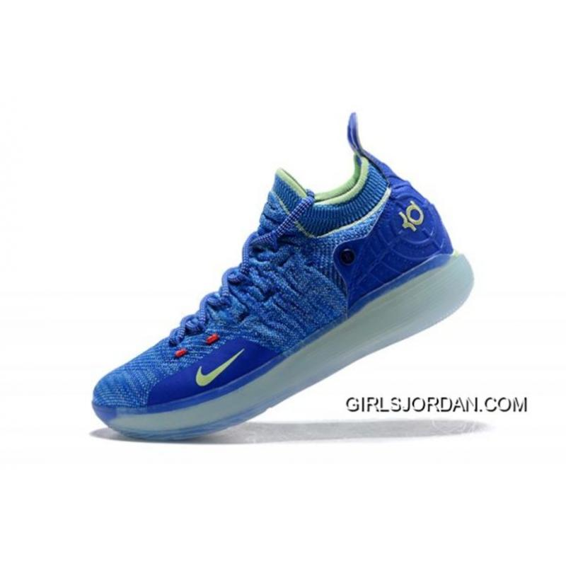 "fc5a3886adb4 Free Shipping Kevin Durant s Nike KD 11 ""Paranoid"" Bright Blue Volt ..."