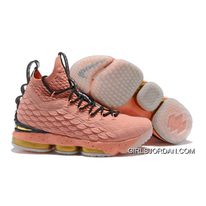 "new products 08690 47036 New Release Nike LeBron 15 ""All-Star"" Rust Pink/Metallic Gold-Black"